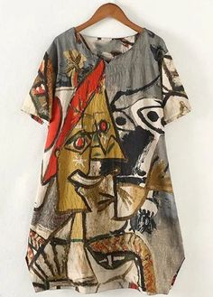 Plus Size Abstract Pattern Loose Tunic Dress: