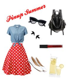 """Pinup Summer"" by thesilverloutos on Polyvore featuring Miss Selfridge, Chloé, Smashbox and pinup"