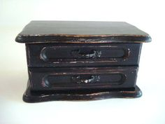 Upcycled Painted Distressed Jewelry Box Black. $22.00, via Etsy.