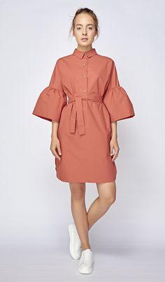 Коралловое платье-рубашка, фото 4