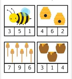 Printable Bumblebee Count and Clip Cards Free Preschool, Preschool Printables, Preschool Worksheets, Kindergarten Activities, Preschool Activities, Insect Activities, Spring Activities, Insect Crafts, Bugs And Insects