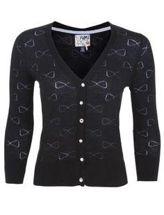 Yumi Black Bow Knitted Cardigan