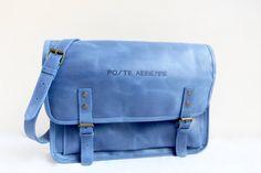 Sacoche Poste aérienne cuir bleu Marines, Messenger Bag, Satchel, Airmail, Blue, Leather, Crossbody Bag, Backpacking, School Tote