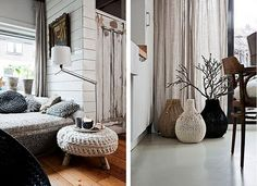 City home, from Deko Finland magazine Photography by Morten Holtum Ferm Living knitted cushions Claire Anne O'Brien knitted furniture Cas. Cosy Interior, Interior Design, Curtain Texture, Collage, Dream Decor, Warm And Cozy, Bean Bag Chair, Diy Home Decor, Inspiration