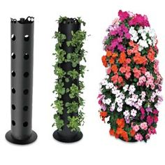 "Vertical garden made from a 3-Foot Flower Tower. Lowes sells the 4 to 6"" round PVC pipe with holes already drilled. Buy an end cap, fill with rock, soil, and plant. Love this Idea!  Before you know it, your nursery seedlings have bloomed into a spectacular display of 30 plants in one."