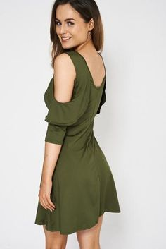 Cold Shoulder Dress - Green