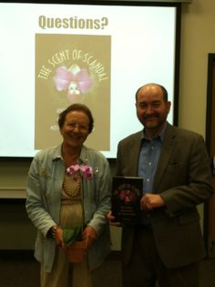 When I did a book-signing at the Jan Platt Library in Tampa, the winner of the souvenir orchid for being first in line went to...Jan Platt herself! (July 2012)