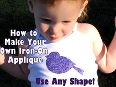 SO Easy Appliqued Tee or Onesie Photo Craft Tutorial (With Linky) Fabric Crafts, Sewing Crafts, Sewing Projects, Diy Crafts, Iron On Applique, Embroidery Applique, Sewing For Kids, Baby Sewing, Sewing Clothes