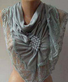 Grey / Elegance  Shawl / Scarf with Lacy Edge