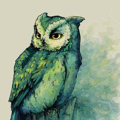 grape-seed:  Green Owl Art Print by Teagan White