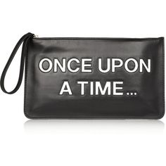 Once Upon A Time leather clutch (€95) ❤ liked on Polyvore featuring bags, handbags, clutches, purses, accessories, black, real leather handbags, leather handbags, red valentino and leather purses