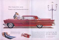 "1960 Lincoln Towncar.. The formal ""town car"" elegance of the brilliant new Lincoln promises a uniquely luxurious car. And everything about this magnificently built new Lincoln keeps that promise to the letter. It's gleaming new instrument panel. It's rich new fabrics and soft, supple leathers. Its tremendous spaciousness, unmatched by any other six passenger automobile in the world."