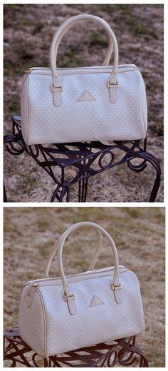 1984 Liz Claiborne Shoulder bag, Vintage Genuine Leather Trim, Speedy bags, Travel bags, Hobo bags, Multi pockets purse, Satchel bag