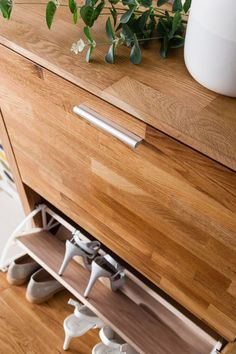 noa and nani vermont solid oak shoe storage cabinet 3 drawer