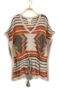 Boho Print Batwing Sleeve Drawstring Sweaters OASAP.com