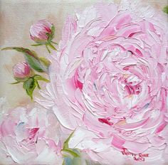 Oil painting flower still life Peony 6x6 inch by Judith Rhue