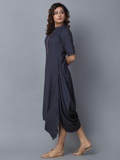 Blue Cotton Linen Cowl Dress