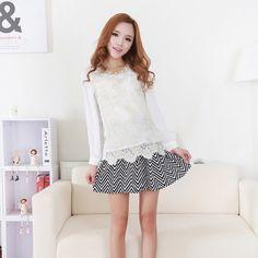 Korean Fashion Long Sleeve Slim Lace Shirt