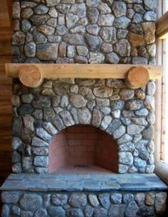Rumford Fireplace Conversion with Natural Stone Veneer, now picture a wood burning stove in front-pure beauty!