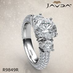 Round Diamond Engagement Ring Certified By GIA, H Color & VS1 Clarity, 14k White Gold.