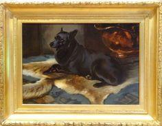 Fine-Large-19th-Century-Black-Corgi-Dog-Portrait-Antique-Oil-Painting-WOODHOUSE 3.500 GBP