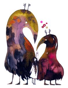 Beautiful watercolors by deathofrats.  I like how the paints are restrained into those cool critters.
