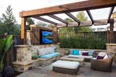 Marvelous Pergola Canopy technique San Francisco Traditional Patio Image Ideas with entertainment center fire pit indoor-outdoor living out door kitchen ...