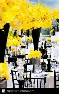 yellow and black flowers for centrepiece