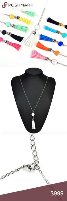 Boho White Stone & Fringe Tassel Drop Necklace Brand new in original packaging. Beautiful boho statement necklace that features a drop white tassel pendant w/ a white circle and fringe tassels. Dangling from a silver link chain (73cm). Made of resin & silver metal alloy. Multiple colors available! All sales are final, please ask all questions prior to purchasing! Jewelry Necklaces