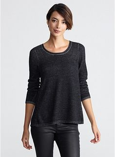 Eileen Fisher Scoop Neck Tunic in Plaited Organic Cotton and Tencel