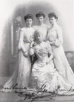 Thyra and her daughters: Marie Louise, Olga, and Alexandra.