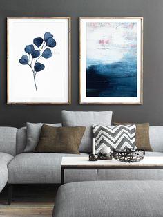 Abstract Painting Set 2 Extra LARGE Prints Minimalist Indigo Denim Navy Blue Fine Art Giclee Wall Art Seascape Eucalyptus Watercolor Decor Blue Artwork, Large Artwork, Navy Walls, Blue Abstract Painting, Best Canvas, Minimalist Painting, Modern Wall Decor, Paint Set, Large Prints