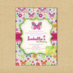 Invitación de la mariposa mariposas y flores cumpleaños