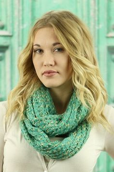 Mint & Gold Blend Infinity Scarf