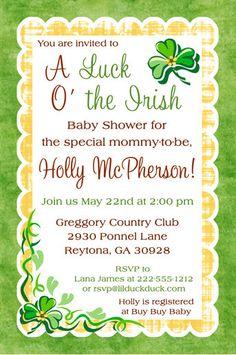 Shamrock Irish Baby Shower Invitation