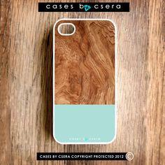 Wood iPhone Case, Handmade iPhone 4 Case, iPhone 4S Case iPhone 5 Cases Coming Soon, Moss Green and Walnut Wood Print iPhone Case