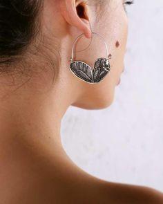 Butterfly Wing Mini Hoops Silver