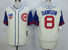 MLB CHICAGO CUBS #8 DAWSON CREAM WHITE 1942 New Throwbacks Jersey