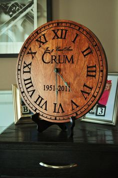 Personalized Clock Carved Engraved  Wood 13 Inch Diameter by MRC Wood Products. $80.95, via Etsy.