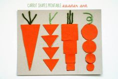 Carrot Shapes Printable Easter Art // sweet little peanut Toddler Crafts, Crafts For Kids, Arts And Crafts, Easter Activities, Spring Activities, Bunny Crafts, Easter Crafts, Carrot Craft, Vegetable Crafts