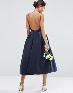 ASOS | ASOS WEDDING Strappy Pini Scuba Prom Midi Dress