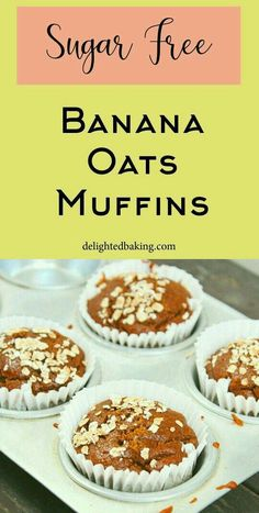 Healthy Banana Oats muffins : No Sugar, No Oil and No Egg. For preparing these banana muffins, all you need is a blender jar – Add all the ingredients into the blender, blend, bake and enjoy these easy and quick banana oats muffins. Banana Oat Muffins, Banana Oats, Baking Recipes, Cake Recipes, Dessert Recipes, Dessert Ideas, Healthy Breakfast Muffins, Breakfast Recipes, Delicious Desserts