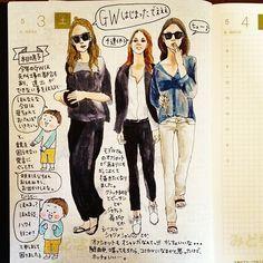 「いつかゆっくり家族旅行したいな、の5月3日の日記。#ワイハにも行ってみたい #でも1番行きたいのは九州 #ほぼ日 #ほぼ日手帳 #ほぼ日umu #モデル #オフショット #カズン #絵日記」