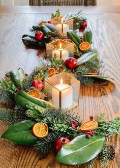 A step-by-step guide for how to dry oranges, cranberries, and pomegranates and preserve magnolia leaves and boxwoods for Christmas decor.