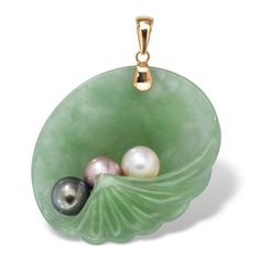 Jade and Pearl Shell Pendant in 14k Gold: Jewelry.  $109.99