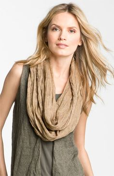 Eileen Fisher Washed Linen Infinity Scarf available at #Nordstrom - Love the entire outfit