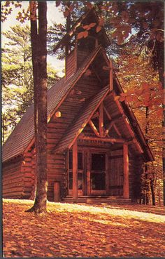 MI Church Grayling Rustic Chapel at Hartwick Pines Unsent Photographer Lucy Gridley Build in 1953