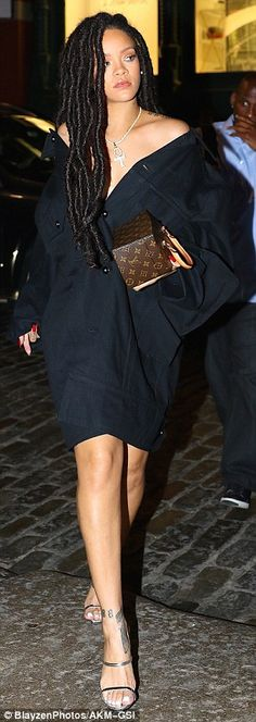 Top things off with an oversized jacket like Rihanna's. Click 'Visit' to buy now. #DailyMail