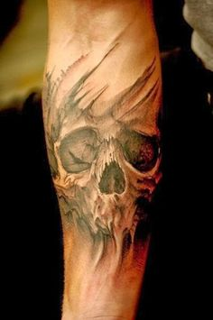 Halloween skull tattoo for fashion girls  #skull #tattoo www.loveitsomuch.com