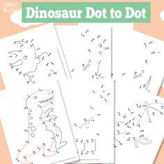 Dinosaurus werkbladen: verbind de cijfers, kleurplaten, memory spel - Dinosaur Dot to Dot - Itsy Bitsy Fun